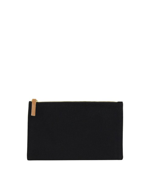 black pouch with leather puller