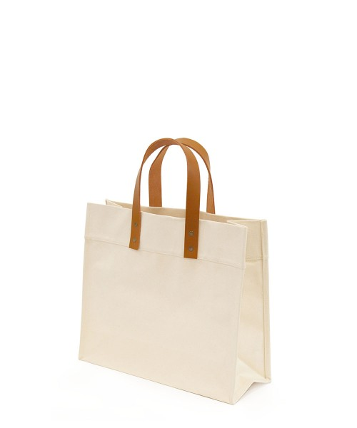 Canvas Market Tote with Leather Handles